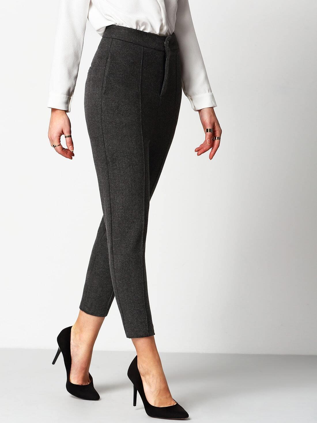 pantalon d contract avec boutons gris french shein. Black Bedroom Furniture Sets. Home Design Ideas