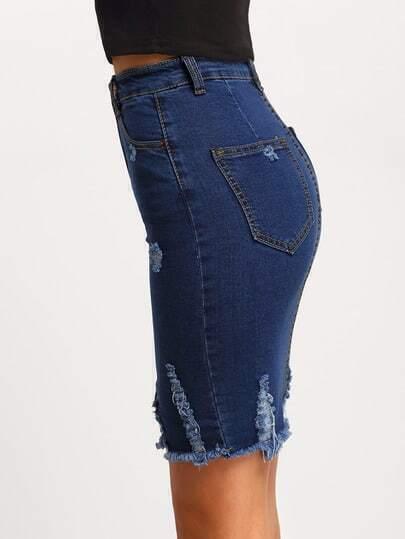 navy ripped split denim skirt shein sheinside