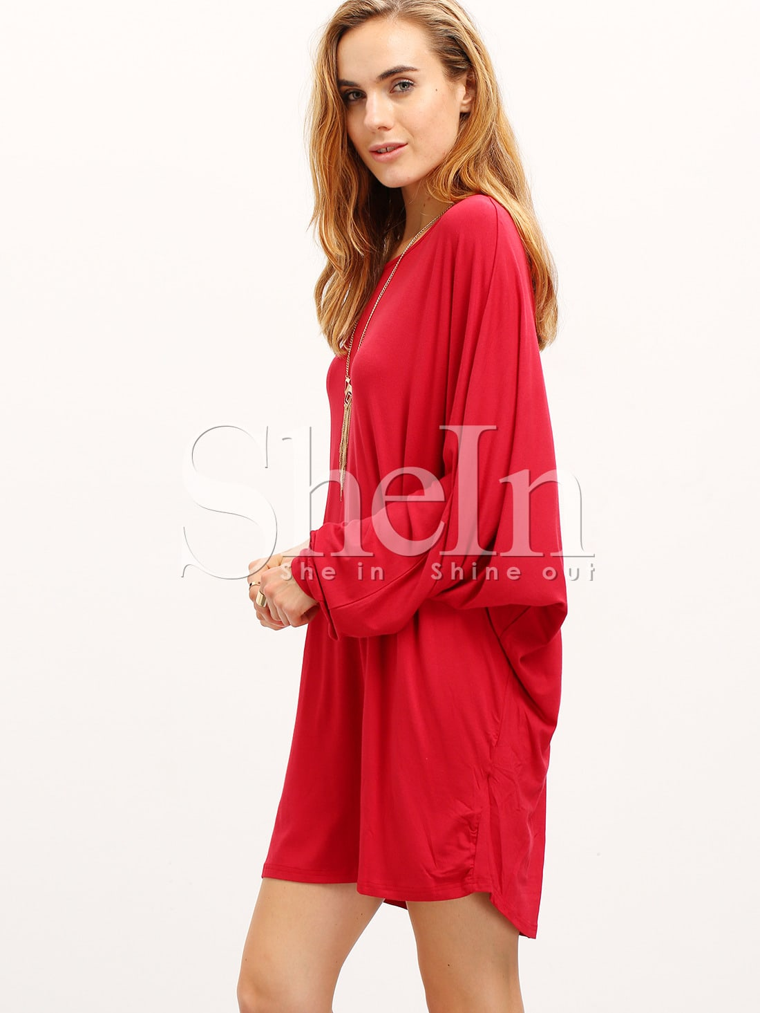 Robe col rond couleur unie rouge bordeaux french shein sheinside - Couleur bordeau en anglais ...