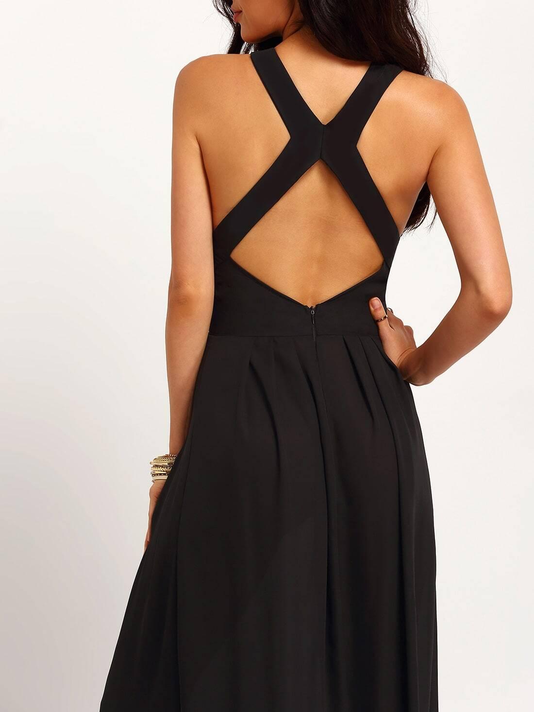 Black Criss Cross Back Backless Maxi Dress Shein Sheinside