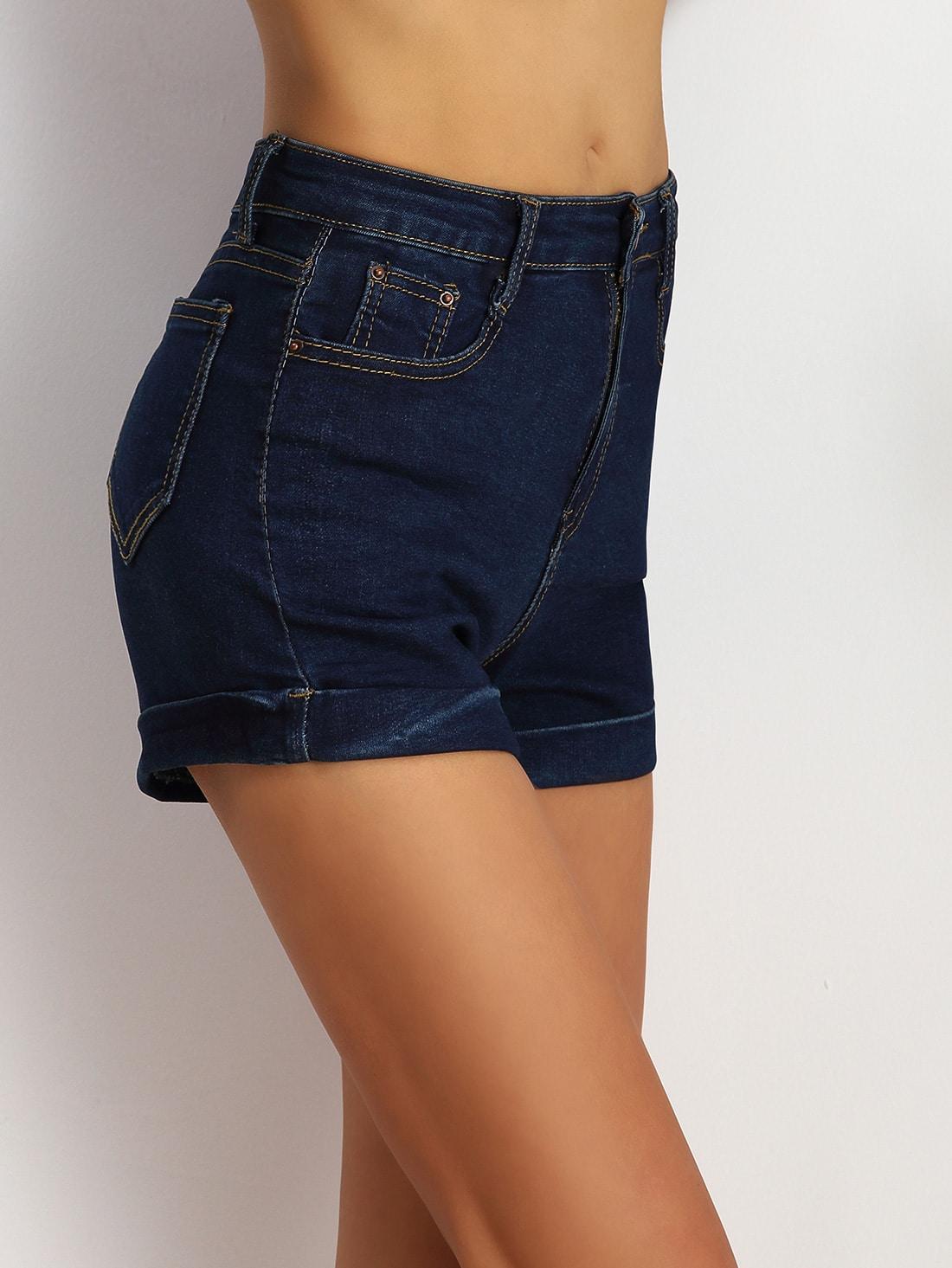 Navy Pockets Denim Shorts -SheIn(Sheinside)