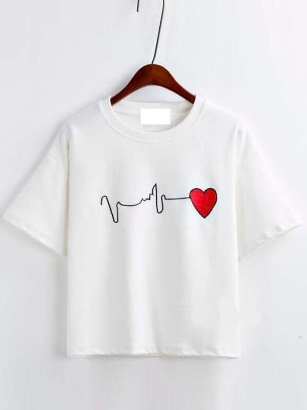 3cde45642be White Short Sleeve Heart Embroidered T-Shirt