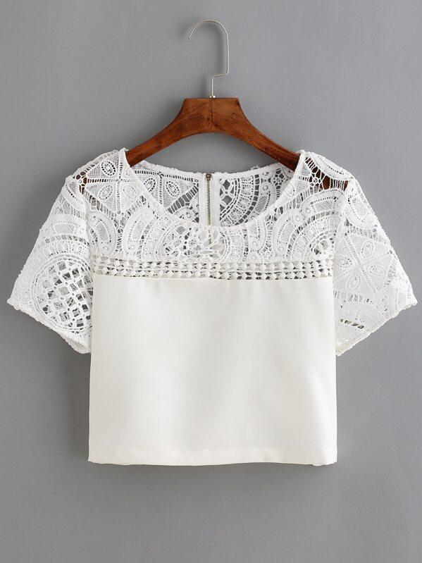 c801614971c68 Blouse en dentelle et crochet manche courte -blanc