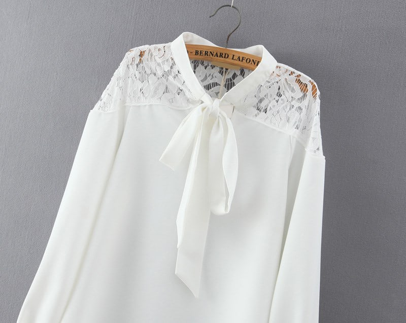 White Lace Blouse With Collar 96