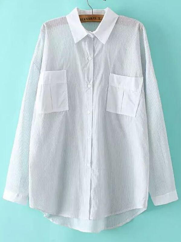 1c66316f9 Blusa rayas verticales bolsillos -gris blanco