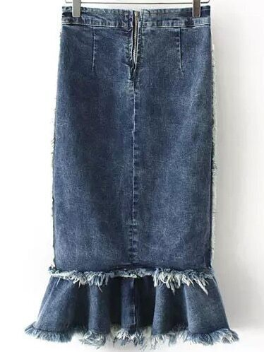 navy slim fringe fishtail denim skirt shein sheinside
