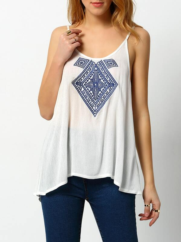 a92caeca72f06 White Spaghetti Strap Embroidered Loose Cami Top -SheIn(Sheinside)