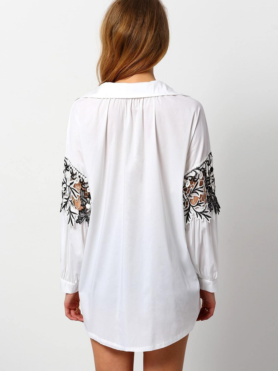 blouse manche longue avec dentelle et crochet blanc french shein sheinside. Black Bedroom Furniture Sets. Home Design Ideas