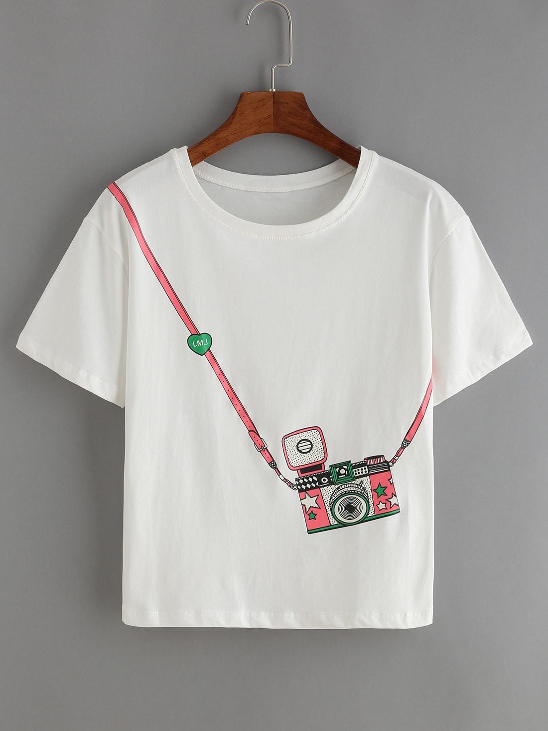2b0b8c07a871 White Short Sleeve Camera Print T-Shirt | SHEIN