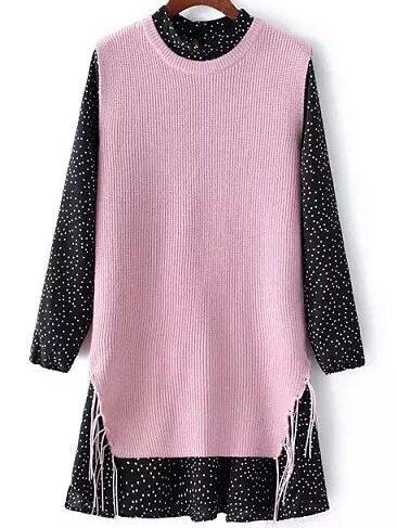 Vestido de lunares rosa y negro