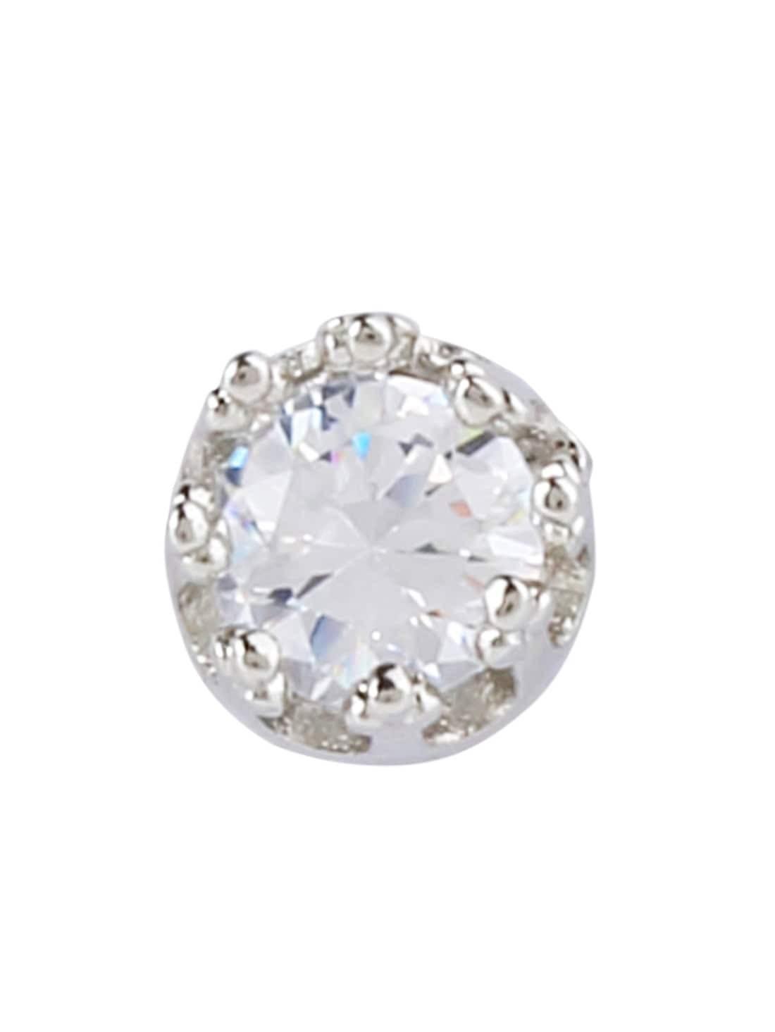 silver plated rhinestone crown stud earrings shein sheinside