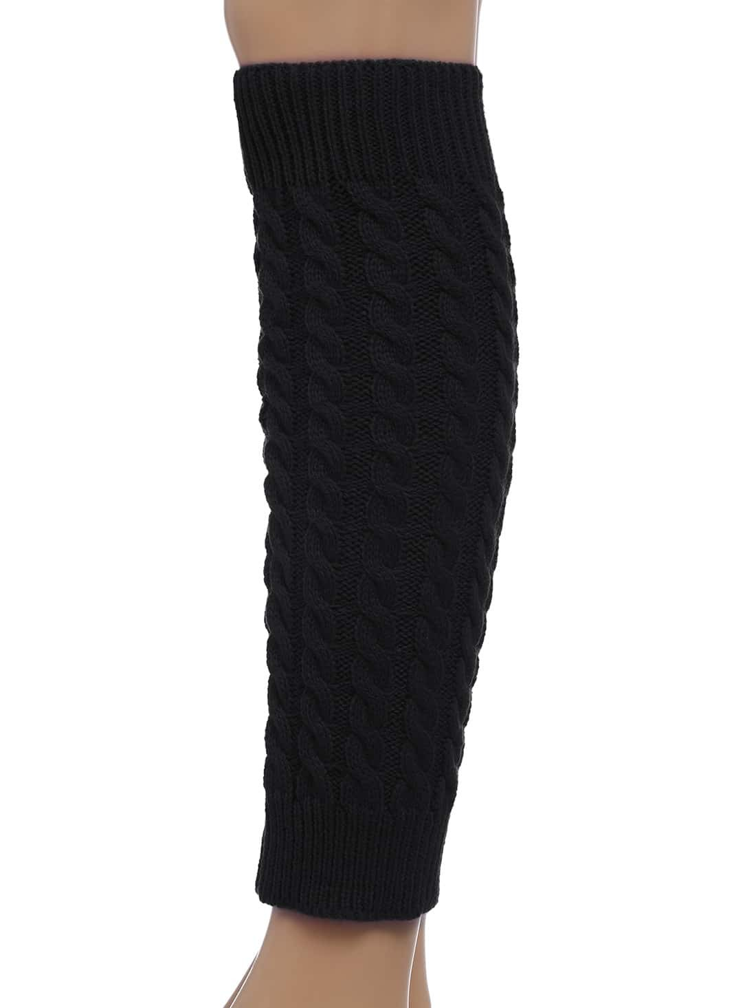 Free Knitting Patterns Leg Warmer Socks : Black Leg Warmers Knitting Crochet Socks -SheIn(Sheinside)