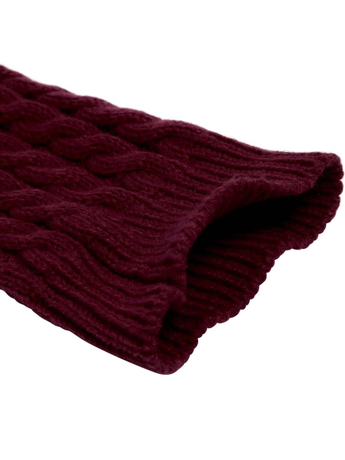Wine Red Leg Warmers Knitting Crochet Socks -SheIn(Sheinside)