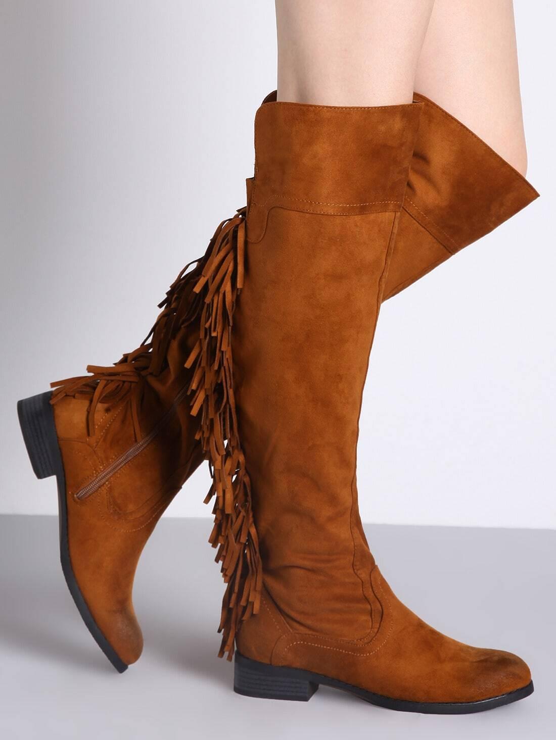 camel fringe flat boots shein sheinside