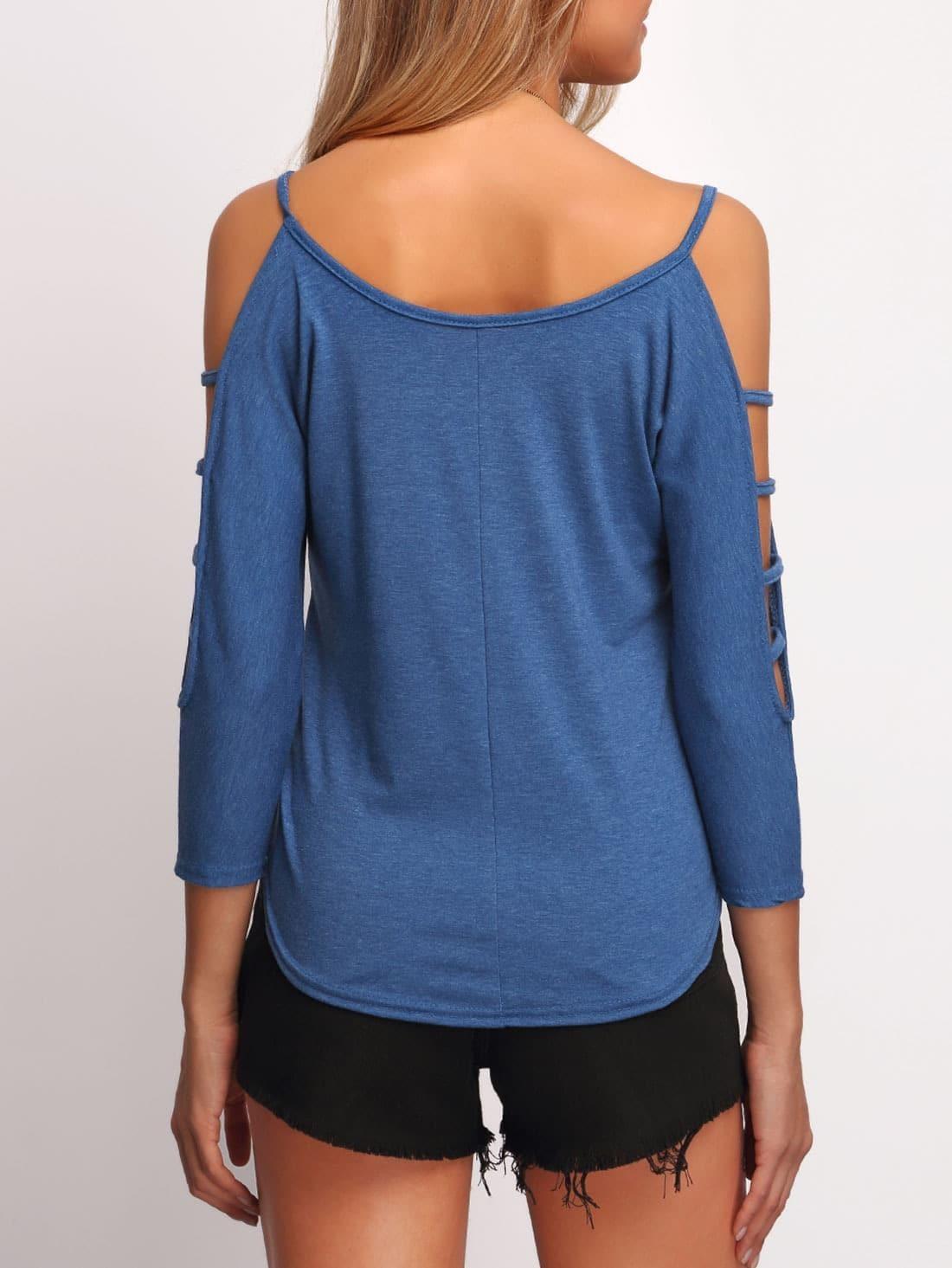 blue cold shoulder loose woman t shirt shein sheinside. Black Bedroom Furniture Sets. Home Design Ideas