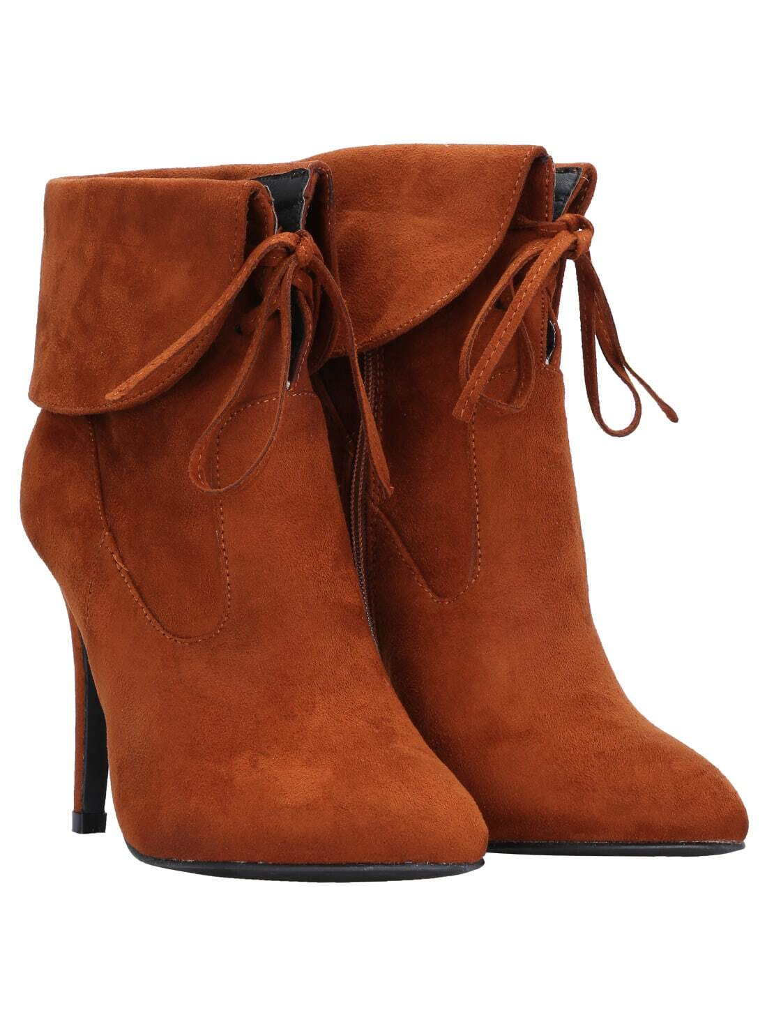 camel lace up high heeled boots shein sheinside
