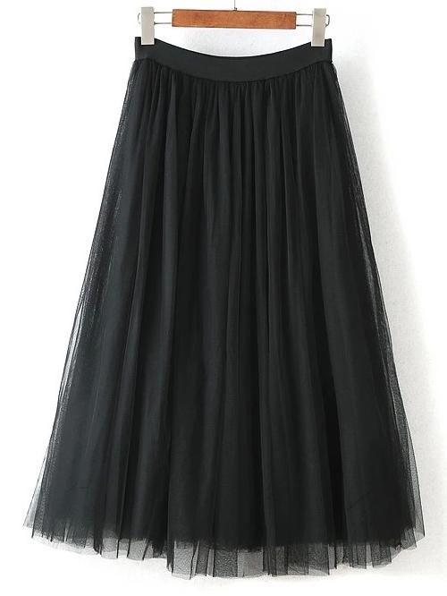 b1343fb75bc093 Jupe plissée mi-longue en tulle -noir