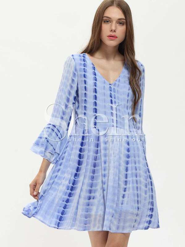 ca12941ef6 Blue V-neck Bell Sleeve Backless Dress | SHEIN