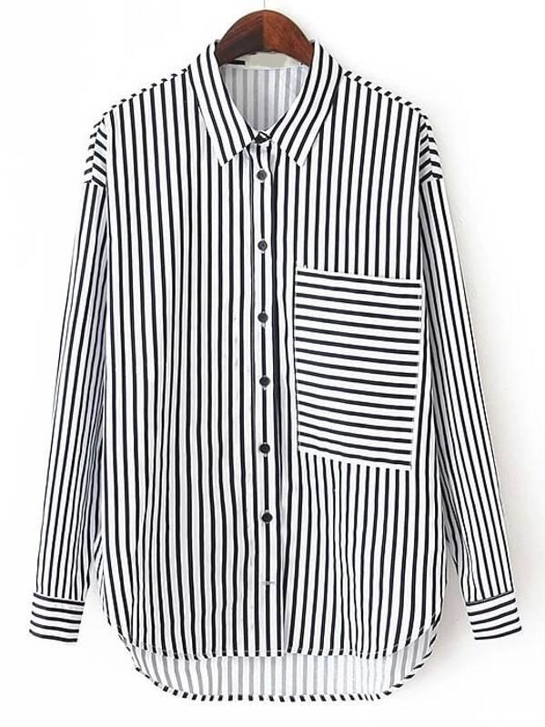navegar por las últimas colecciones pulcro seleccione para el despacho Blusa rayas verticales bolsillo -negro blanco