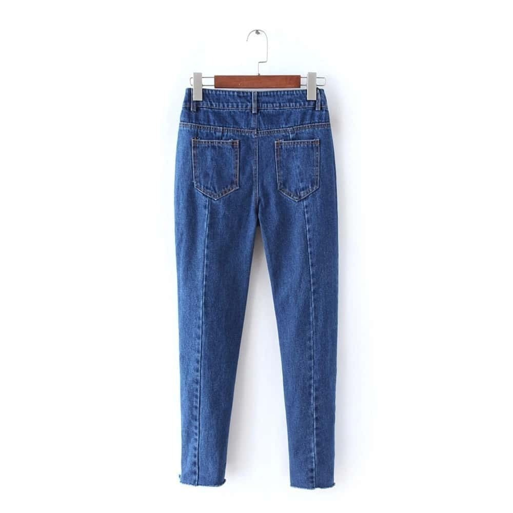 pantalon en denim avec poches bleu marine french shein. Black Bedroom Furniture Sets. Home Design Ideas