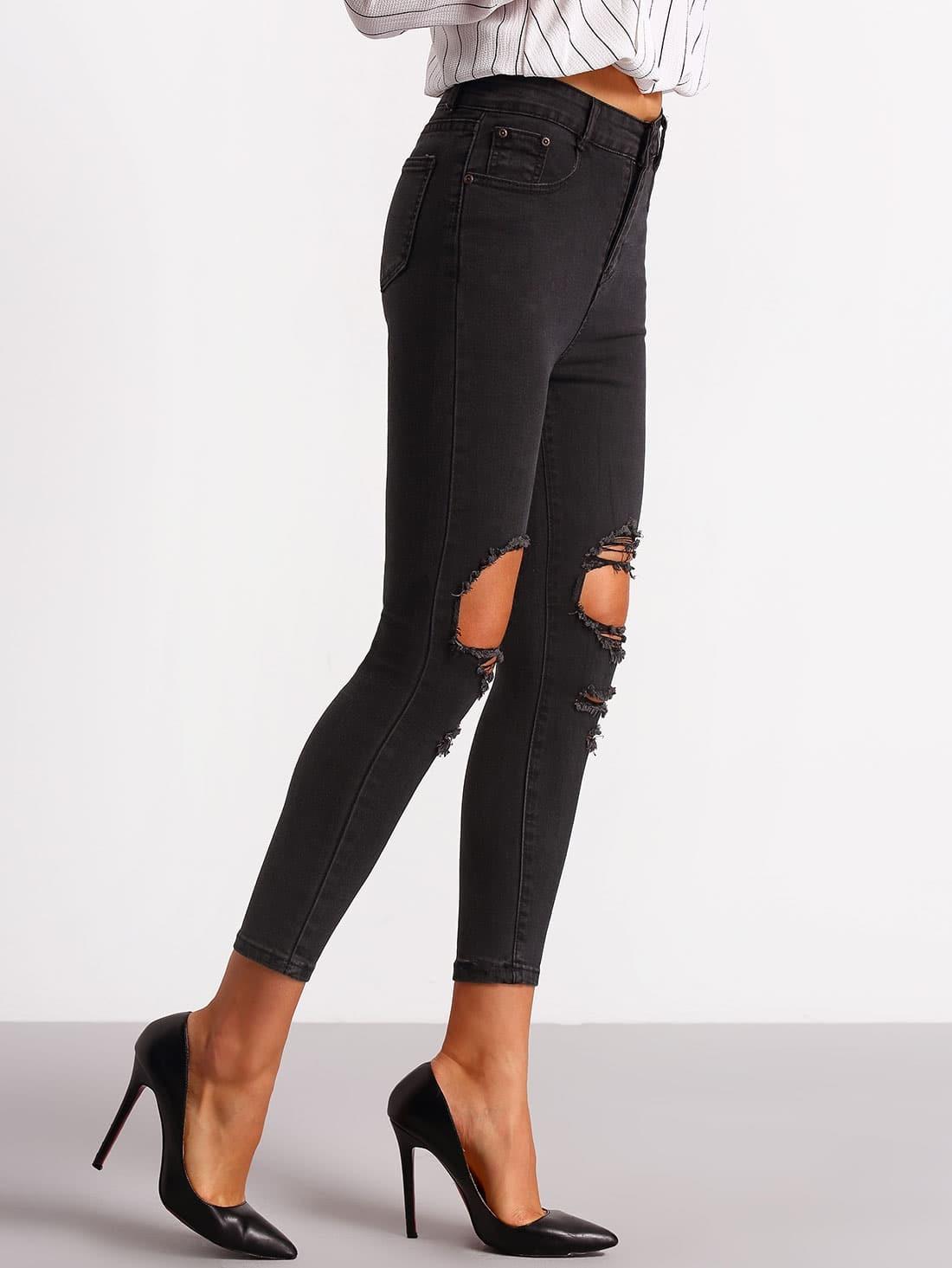 pantalon en denim effet d chir au genou noir french. Black Bedroom Furniture Sets. Home Design Ideas