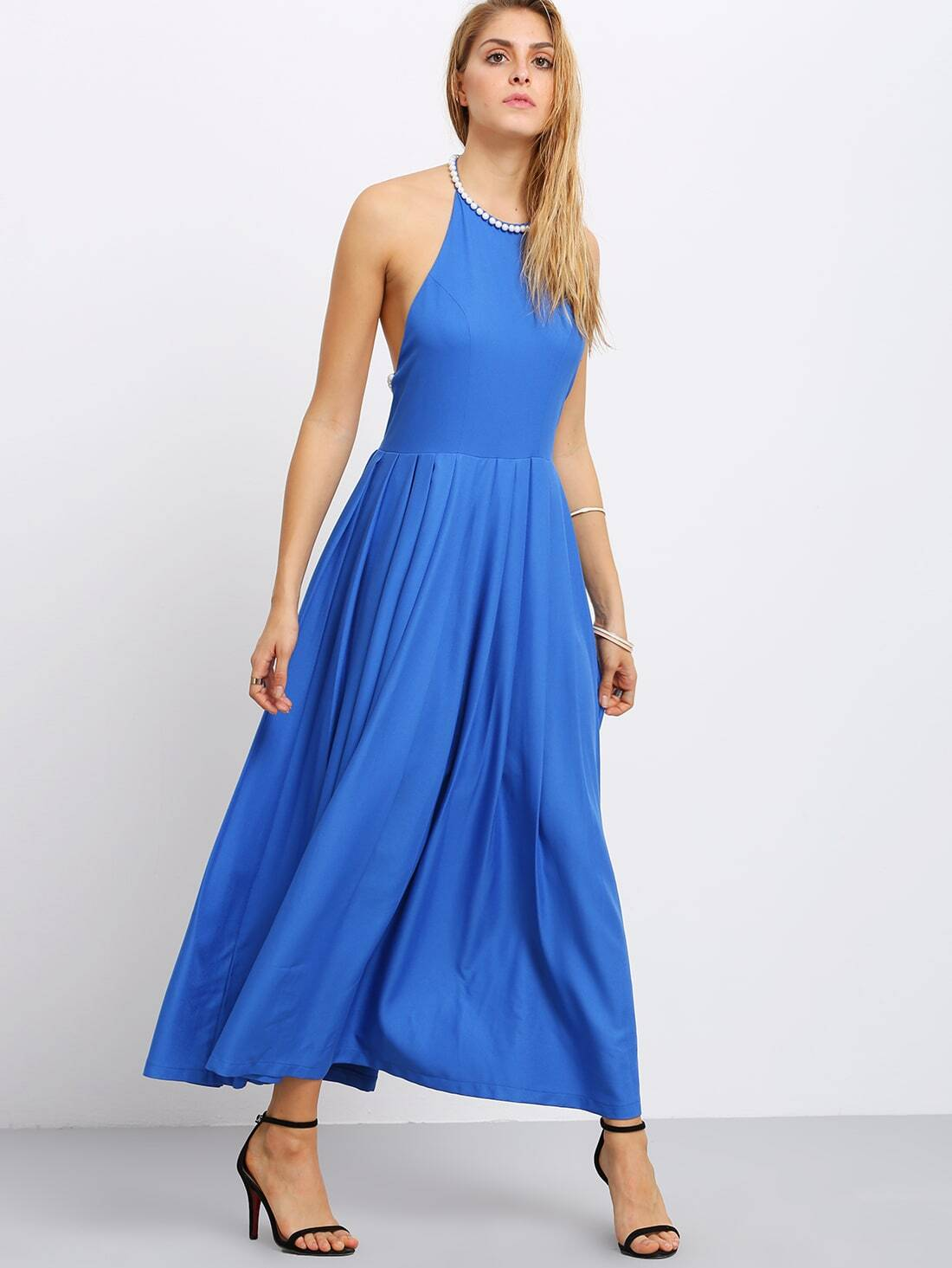 Blue Pearl-trimmed Neck Backless Pleated Dress -SheIn(Sheinside)
