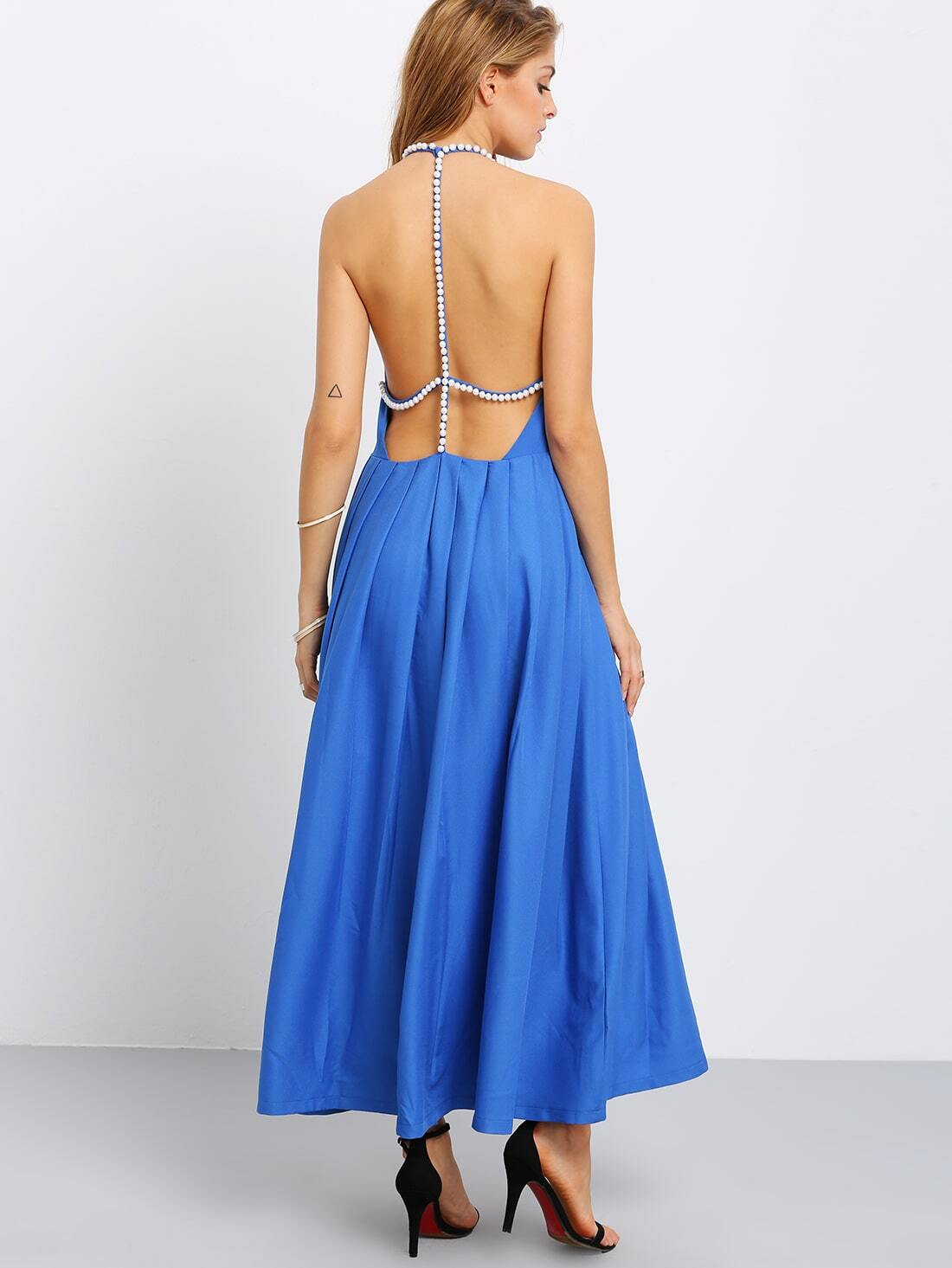 Blue Pearl Trimmed Neck Backless Pleated Dress Shein
