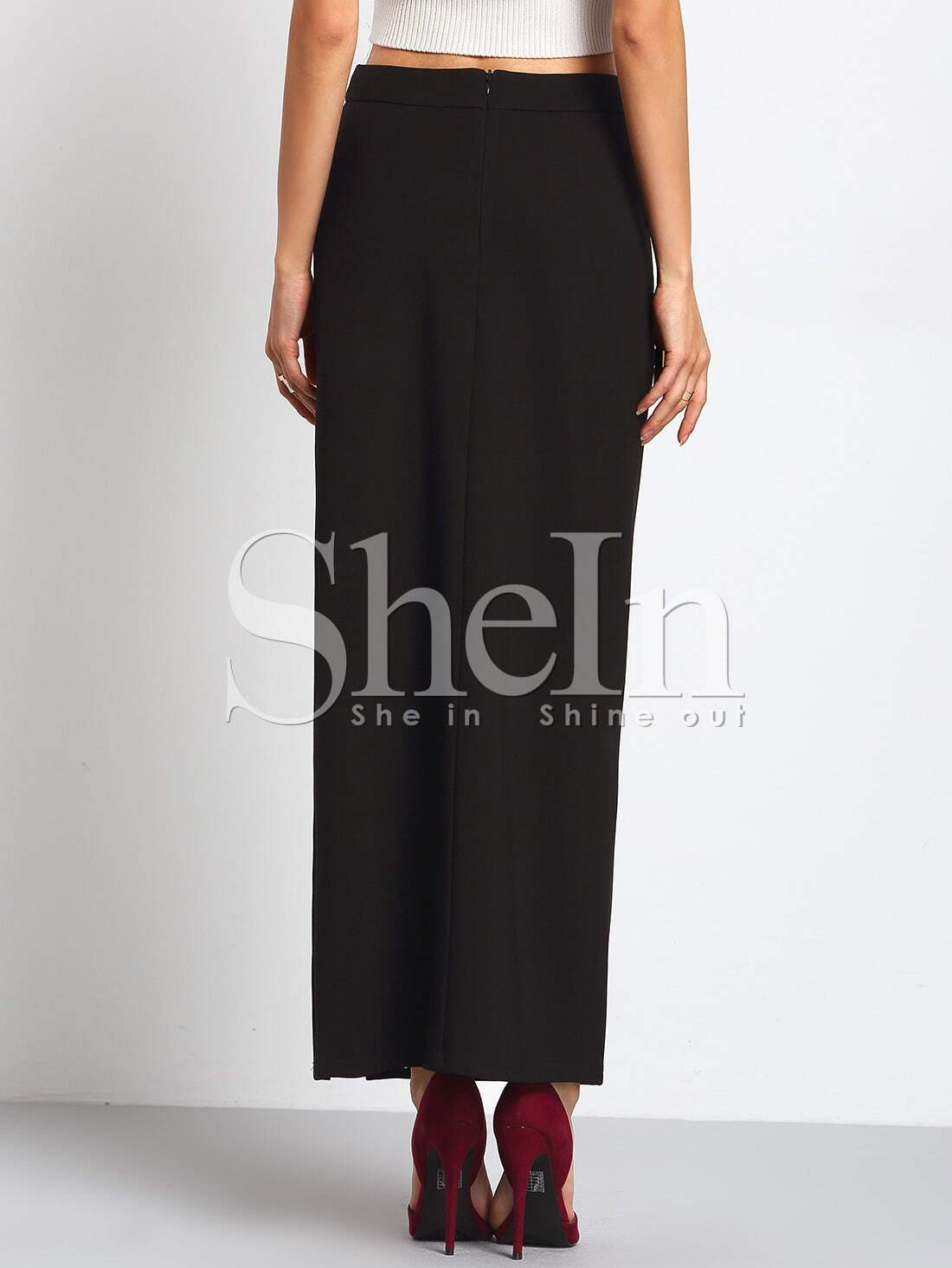 black high waist side split maxi skirt shein sheinside