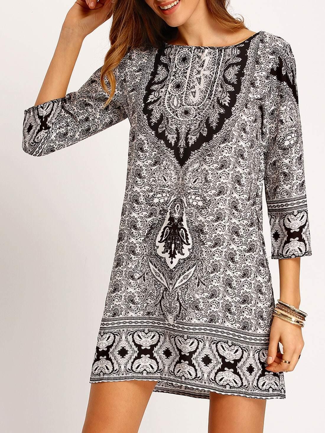 Vestido estampado tnico suelto negro blanco spanish for Suelto blanco suelto barato