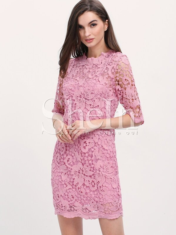 e09592e7101f Purple Crochet Trim Button Down Backless Bodycon Dress -SheIn(Sheinside)