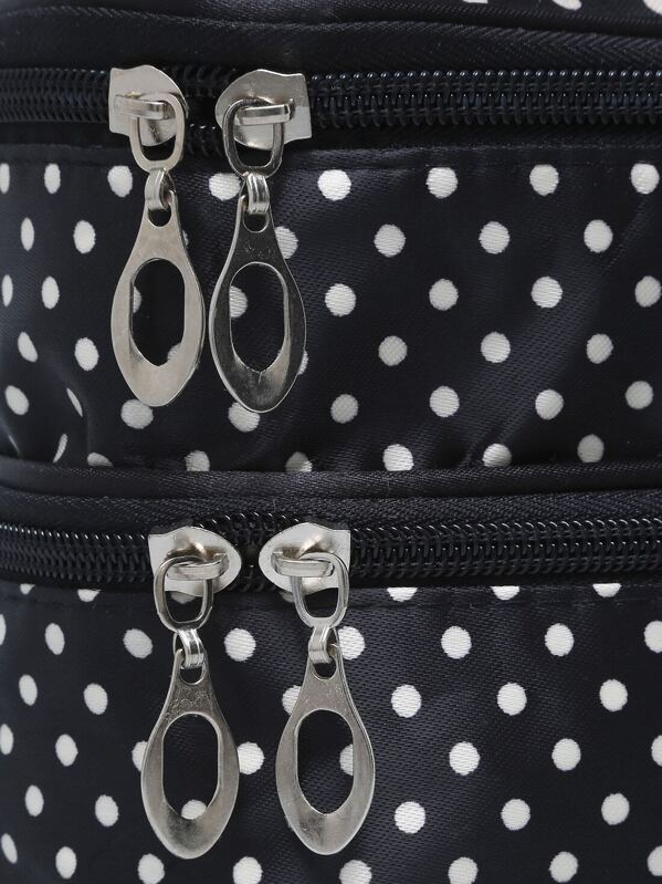 abcab141462c Black Polka Dot Double Layers Cosmetic Bag