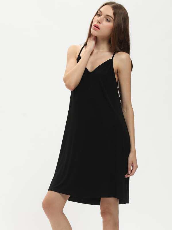 8dc6cf422f13 Black Spaghetti Strap Loose Cami Dress | SHEIN