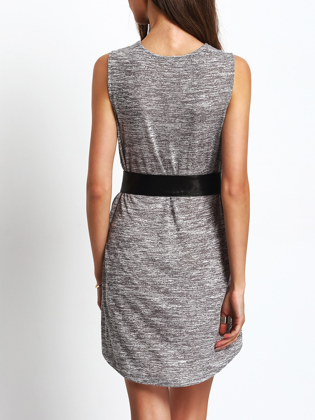 grey sleeveless shift dress with belt shein sheinside