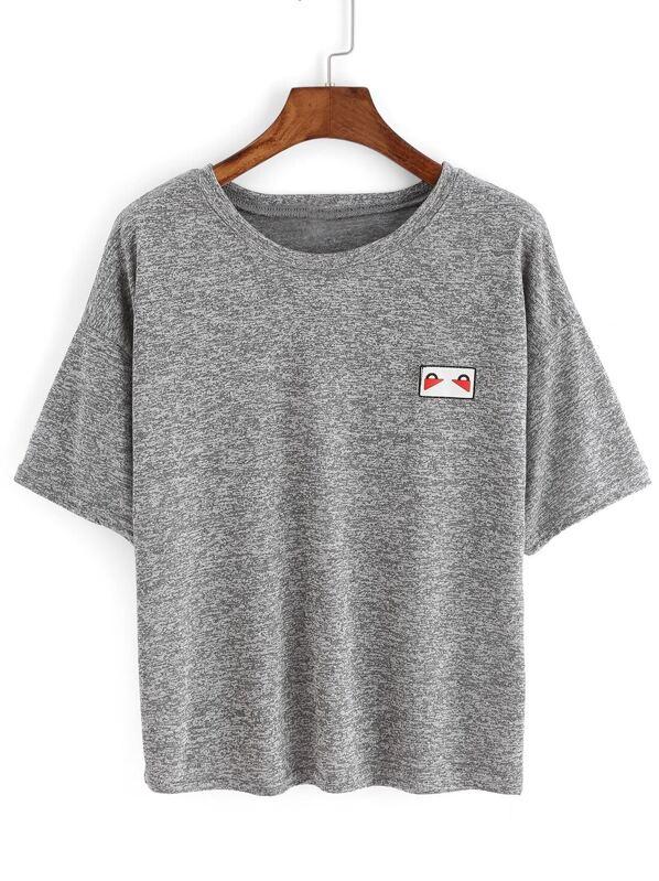 ad149161dc Grey Crew Neck Short Sleeve Crop T-Shirt   SHEIN