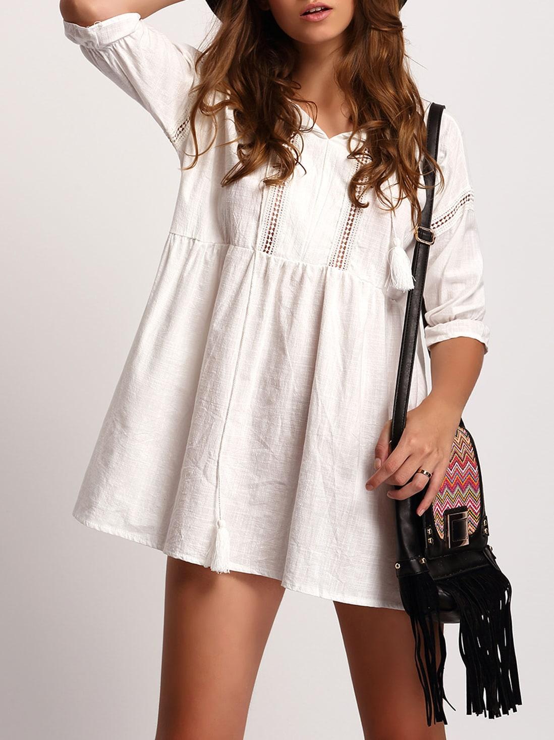 Vestido manga media suelto blanco spanish shein sheinside for Suelto blanco suelto barato