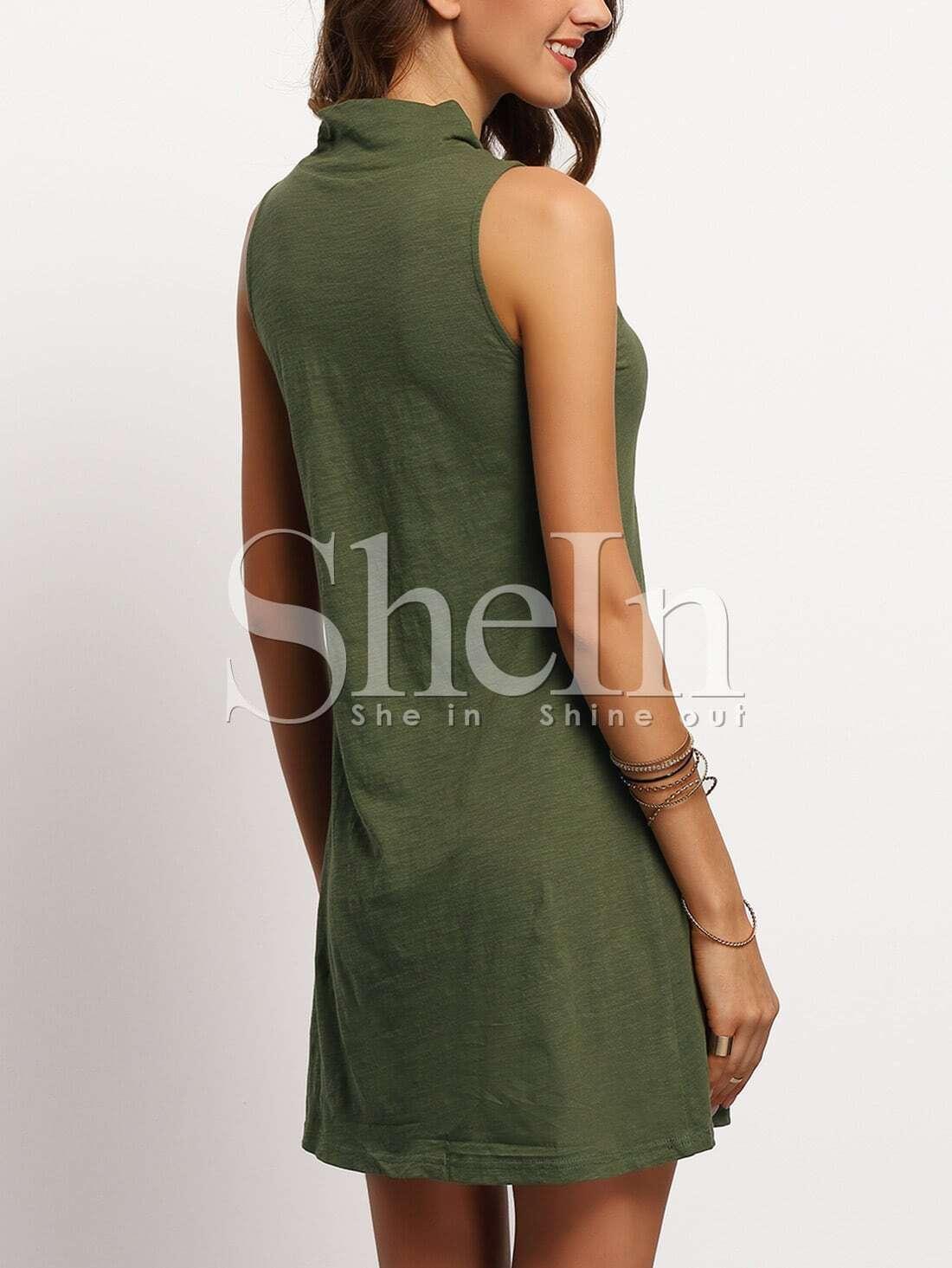 Blackish Green Mock Neck Sleeveless T Shirt Dress Shein