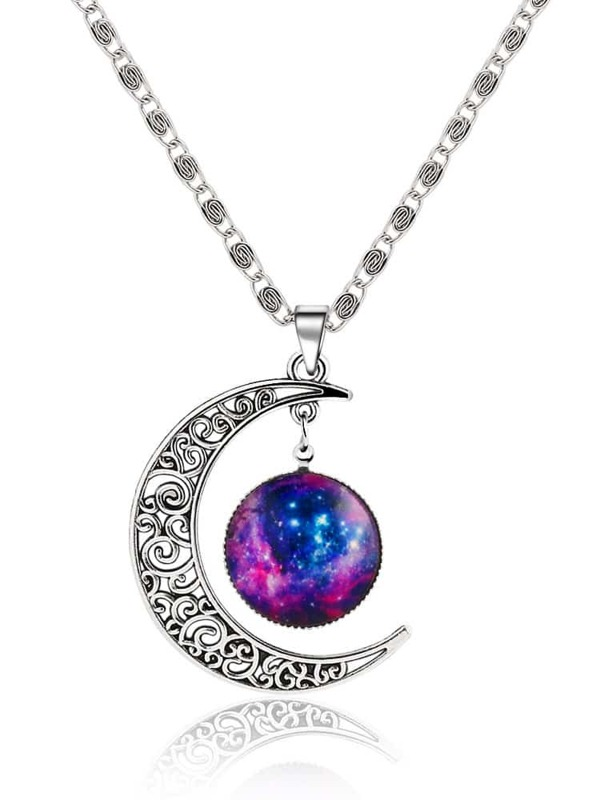 Silver sun moon pendant necklace sheinsheinside mozeypictures Images