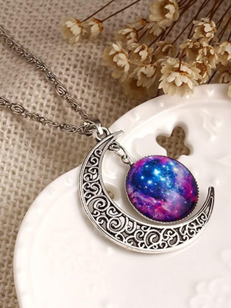 01209ef0b321f4 Collana con pendente Luna Sole d'argento | SHEIN