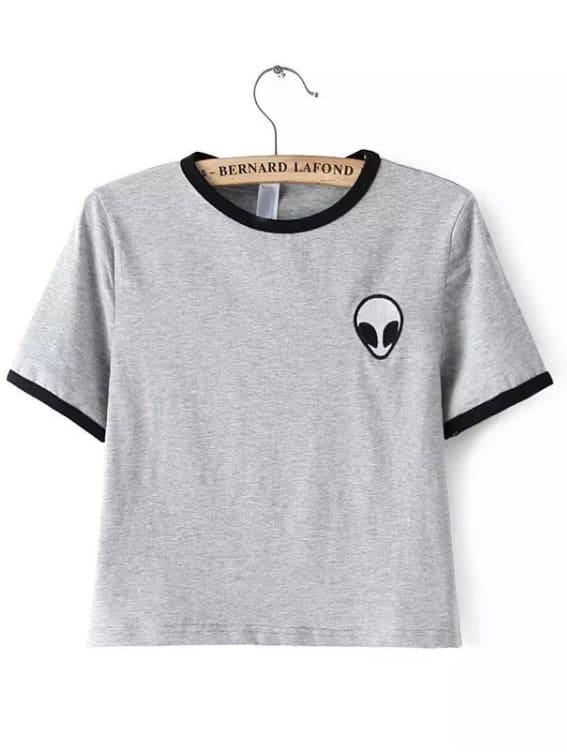 8d2662954c Camiseta cuello redondo estampado crop -gris