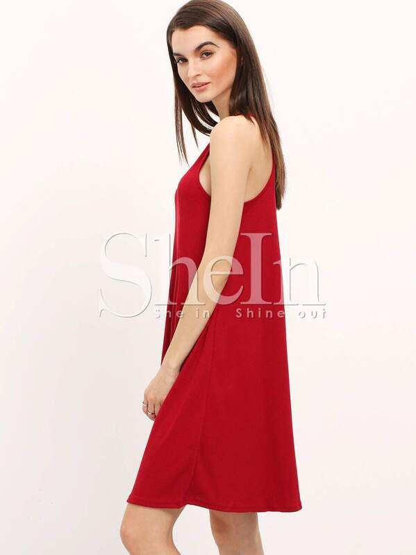 7464d511e889 Burgundy Pleated Spaghetti Strap Swing Dress   SHEIN