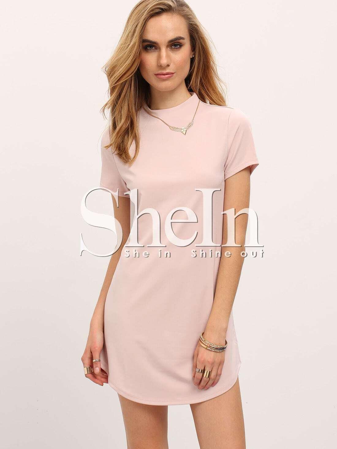 Vestido recto cuello alto manga corta -rosado claro-Spanish SheIn ...