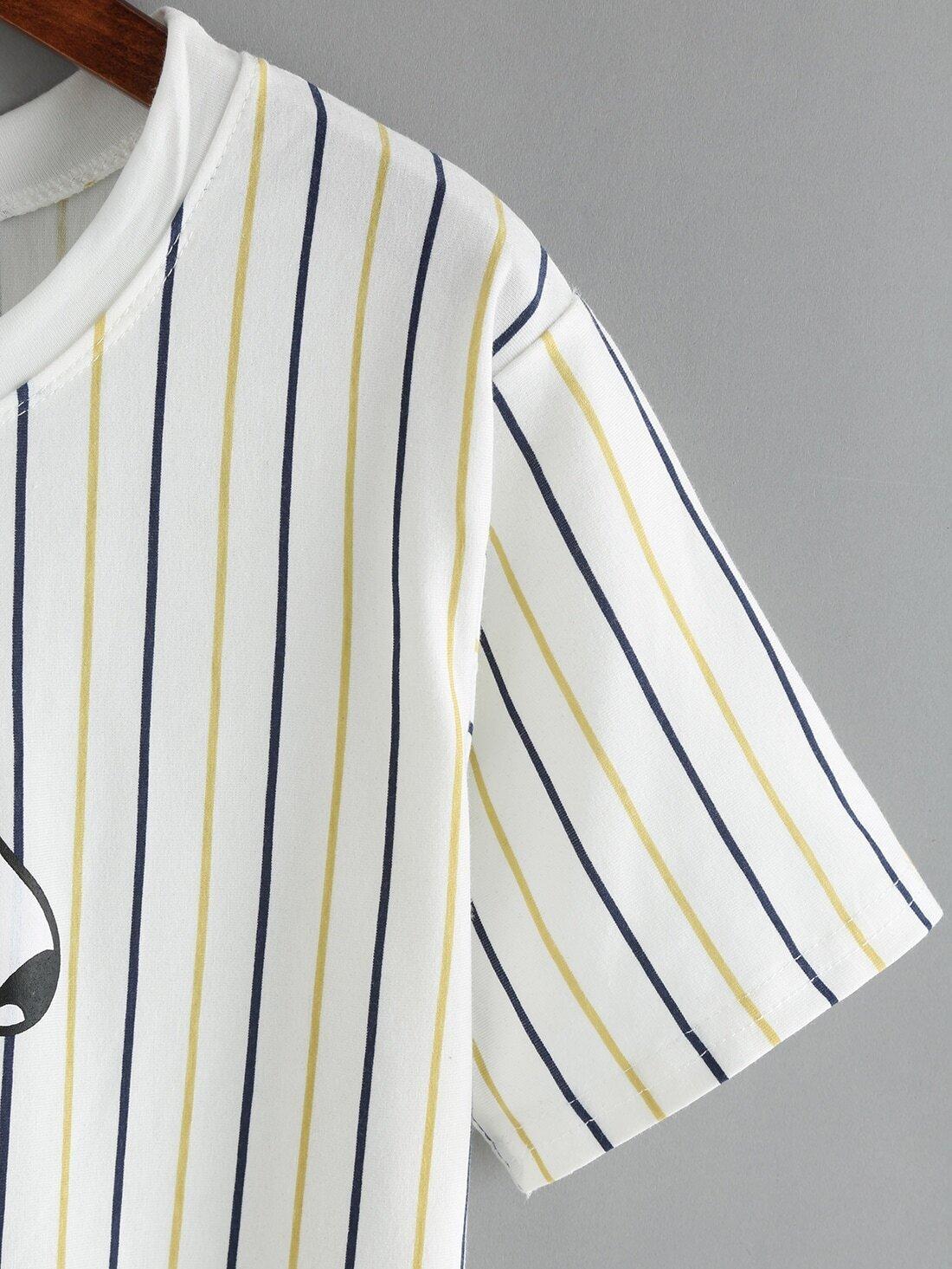 Vertical Striped Dog Print T-Shirt -SheIn(Sheinside)