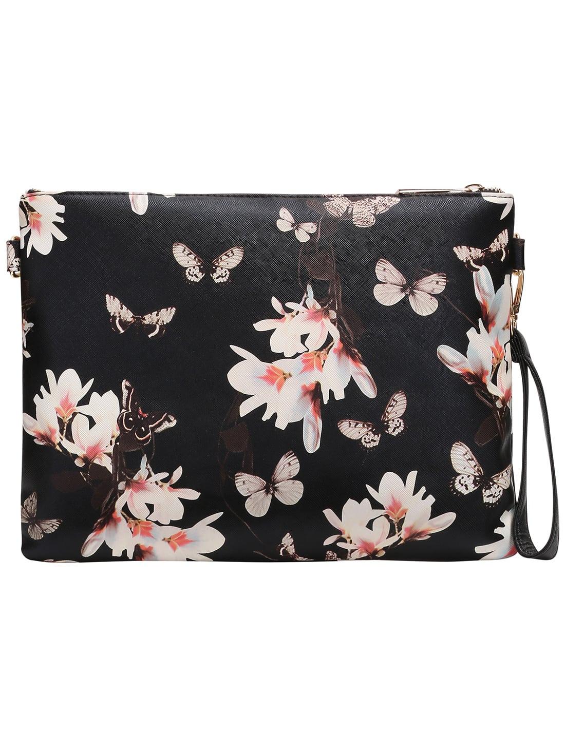 multicolor floral clutch bag shein sheinside