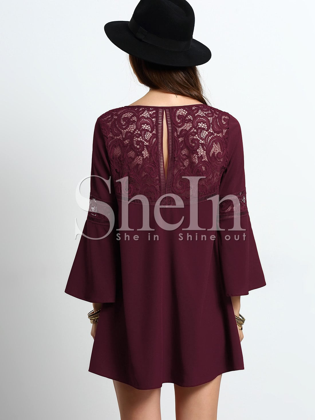 Burgundy Bell Sleeve Lace Splicing Shift Dress