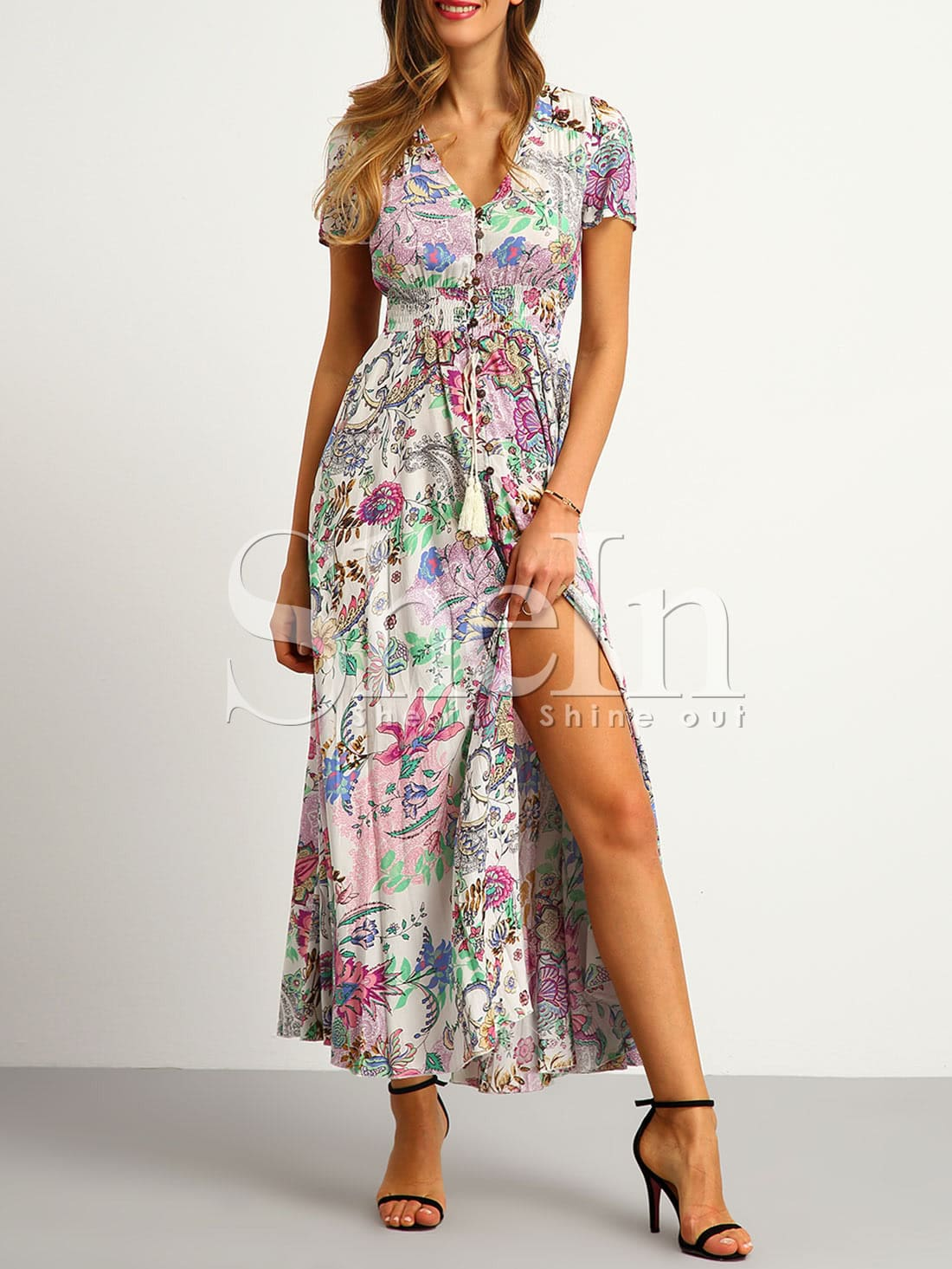 Button Split Front Flare Maxi Dress Shein Sheinside