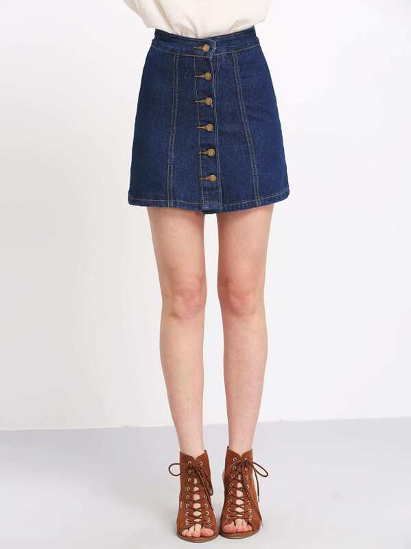 A Line Denim Skirt With Buttons  c3e0a5ee7dfc