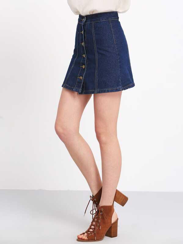 seleccione para el último comprar baratas para descuento Falda botones línea A denim -azul