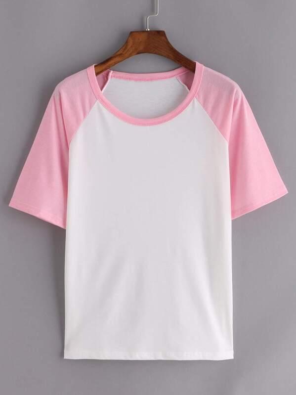0f2636b30dd32 Contrast Raglan Sleeve Pink White T-shirt