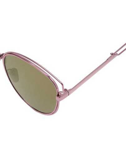 Gold Frame Cat Eye Sunglasses : Rose-gold Cutout Frame Cat Eye Sunglasses -SheIn(Sheinside)
