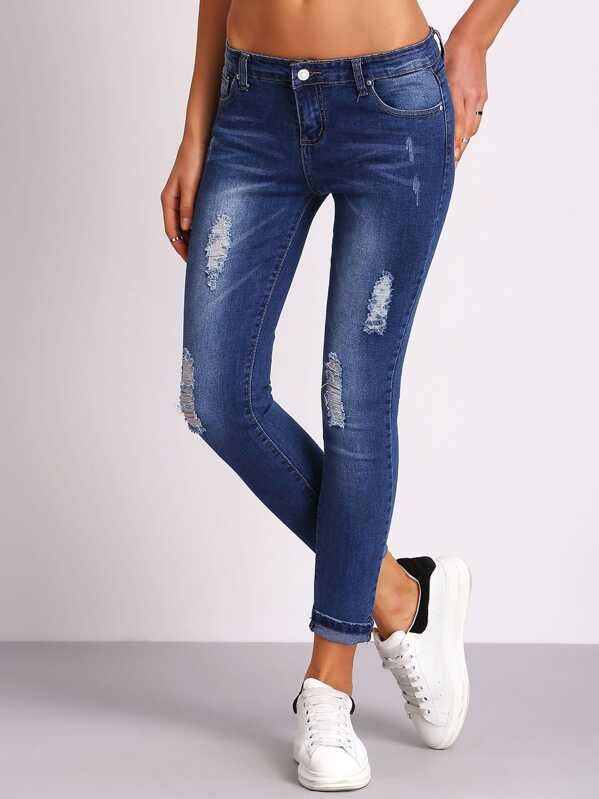 Ripped Bleached Denim Pants, Blue, Mary